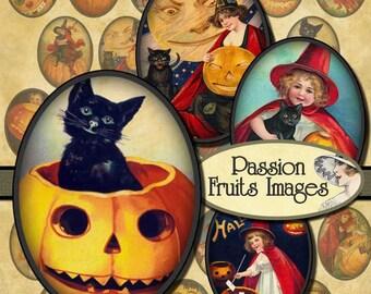 30mm x 40mm Cute Vintage Halloween Ovals Digital Collage Sheet-- Instant Download
