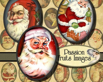 Vintage  Santa Claus Images 30mm x 40mm Ovals Christmas Digital Collage Sheet-- Instant Download