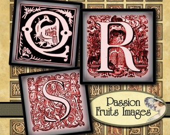 Bloody Valentine Red and White Alphabet Monogram Scrabble Tiles Digital Collage Sheet--Instant Download