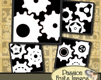 White on Black Cogs and Gears Steampunk Collage Sheet- Instant Download