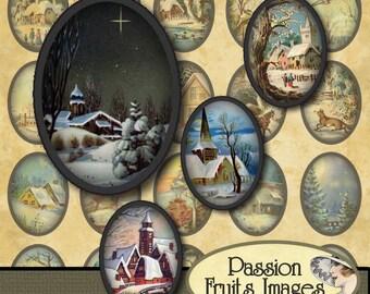Winter Landscapes 18mm x 25mm  Bottlecaps Digital Collage Sheet Christmas Ovals-- Instant Download