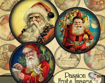 Antique Victorian Santa Images Christmas Digital Collage Sheet 1.5 inch rounds-- Instant Download