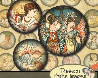 Princess, Angel and Fairies images Digital Collage Sheet-1 inch round bottlecaps-- Instant Download