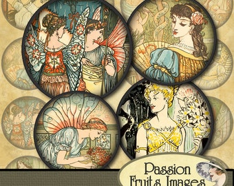 Angels, princesses and fairies Digital Collage Sheet- 1.5 inch circles--Instant Download