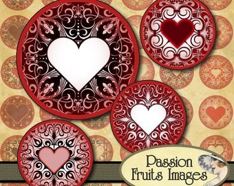 "Valentine's Day Bottlecaps Red and Pink Lace Heart Patterns 1"" circles Digital Collage Sheet--Instant Download"