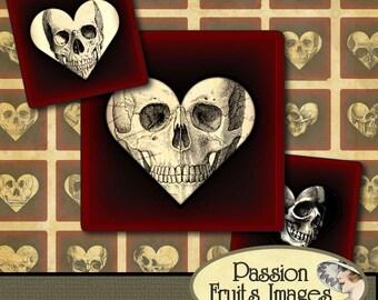Gothic Valentine Inchies Digital Collage Sheet--Instant Download