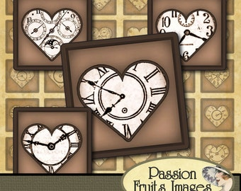 Sepiatone Steampunk Victorian Valentine Watch Faces  1x1 inchies Digital Collage Sheet--Instant Download