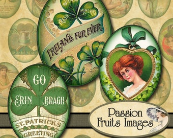 Vintage St Patrick's Day Images 30x40mm Ovals Digital Collage Sheet