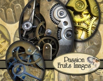 Steampunk Watch Gears 30x40 mm Ovals digital collage sheet--Instant Download