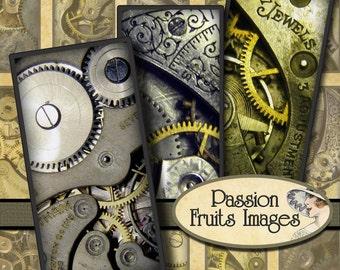 Clockwork Watch movements 1x2 inch Domino Tiles digital collage sheet-- Instant Download