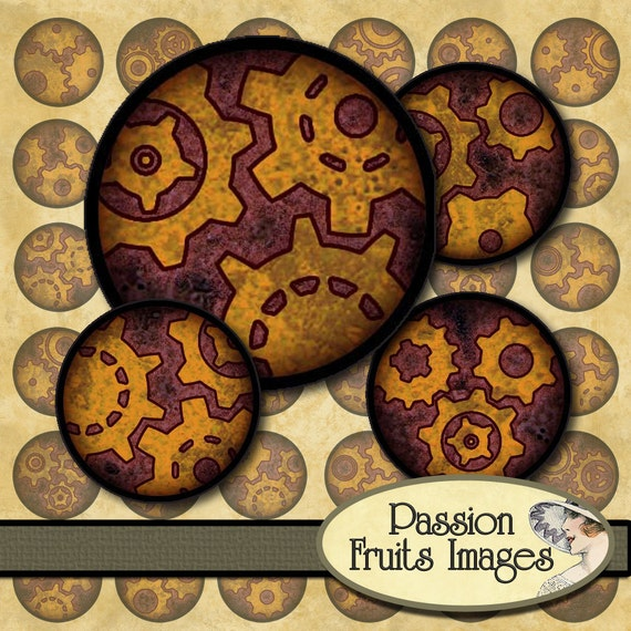 Rusty Gears 1 inch circles Bottlecaps Steampunk Collage Sheet--Instant Download