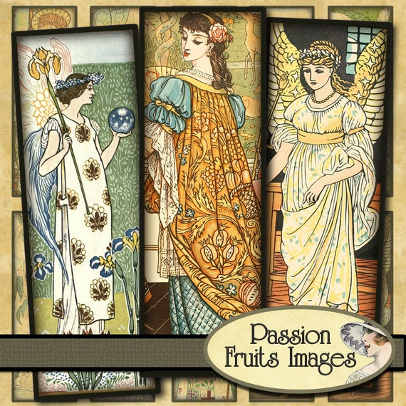 Angels Fairies and Princess images 1 x 3 microscrope slides Digital Collage Sheet--Instant Download