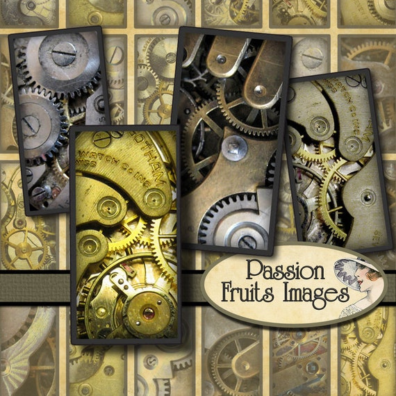 Watch movement gears Steampunk digital collage sheet- 75 x 1.5 inch bamboo Tiles-- Instant Download