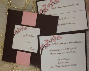 wedding invitations cherry blossom   etsy uk, Wedding invitations
