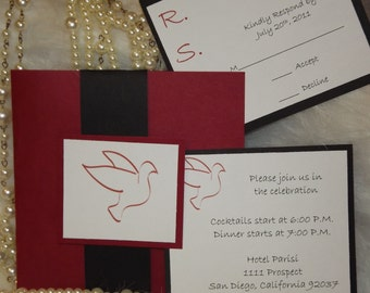 Wedding Invitation Doves Wedding Invitation, Red and black invitation.