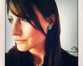 Turquoise Rose Earrings - Seafoam Green  Flower Studs -  Buy 3 Get 1 Free