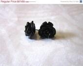 15% OFF Earrings.. Madelyn Resin Rose Post Earrings in Black Licorice - Buy 3 Get 1 Free