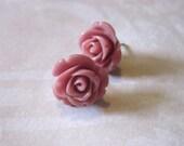 Pink Rose Earrings in Smokey Rose - Buy 3 Get 1 Free, Free Shipping