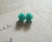 Little Lovelies Resin Rose Post Earrings in Aqua - Buy 3 Get 1 Free