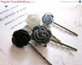 40% OFF Flower Bobby Pins in Black, White and Gray