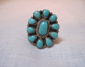 Vintage turquoise needlepoint ring
