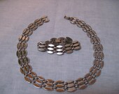 Vintage Monet silver tone necklace and matching bracelet