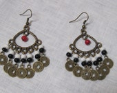 red, black and white beads with chinese coins earrings