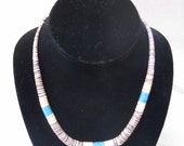 vintage turquiose and heishi bead necklace with silver accent beads