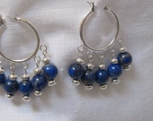 silver plated hoops with lapis beads and silver saucer beads