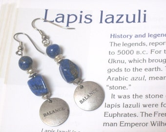 blue lapis, silver beads and inspirational saying earrings