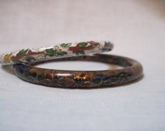 2 cloisonne bracelets white and indigo blue  ON SALE