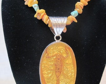 Amber, turquoise and scorpion necklace