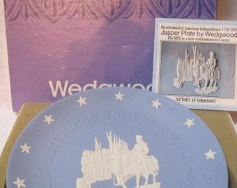 "1976 Wedgewood blue jasper plate Bicentennial plate ""Victory at Yorktown"""