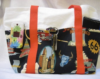 Route 66 fabric 6 pocket purse