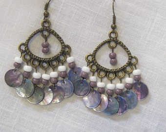 Purple and white beads with purple shell accents earrings