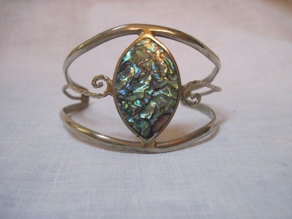 1960's abalone bracelet made in Mexico