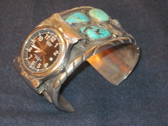 Vintage turquoise and silver watch cuff