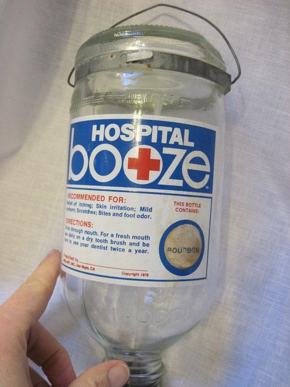 "Novelty 1975 Hospital Booze ""Bourbon"" bottle"