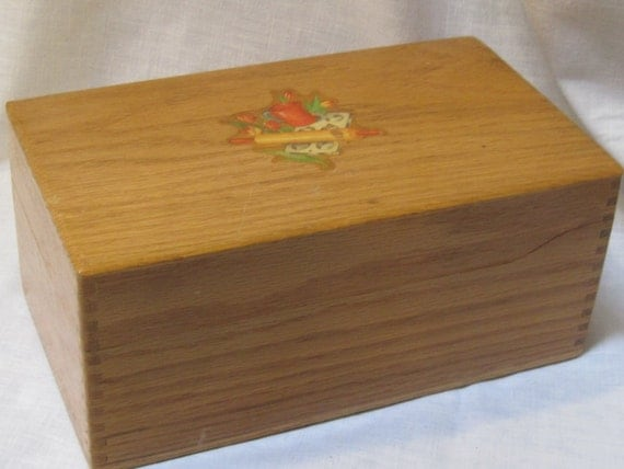 vintage wooden recipe box with great decals