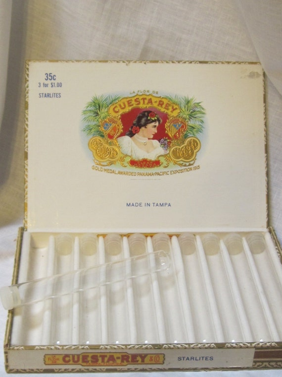vintage Cuesta-Rey cigar box with glass tubes (10)