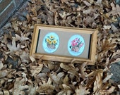 70% OFF SALE - Shells and Flowers Embroidery Picture - Framed