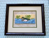 70% OFF SALE - Wood Duck Punchneedle Picture - Framed