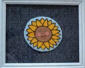 70% Off Sale - Smiley Sunflower Punchneedle - Framed