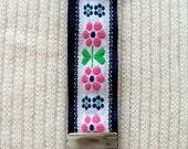 Key Chain - Key Fob Wristlet - Floral on Blue