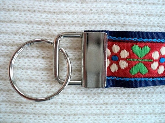 Key Chain / Key Fob Wristlet - Floral on Blue