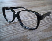 SATURN vintage mod 60s heavy black plastic eyeglasses frames 140