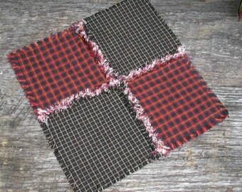 Primitive Mini Rag Quilt Table Runner Candle Mat