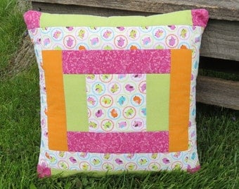 Tweet - Tweet Sweet Little Birdies Quilted Pillow Cover