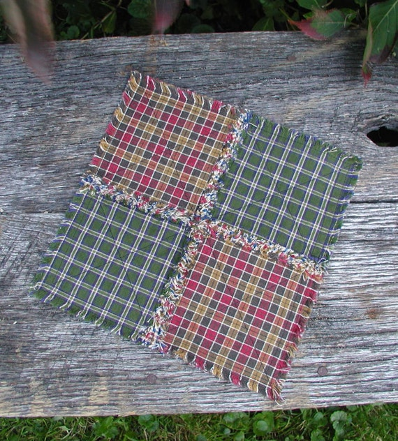 Primitive Mini Rag Quilt Table Runner Candle Mat