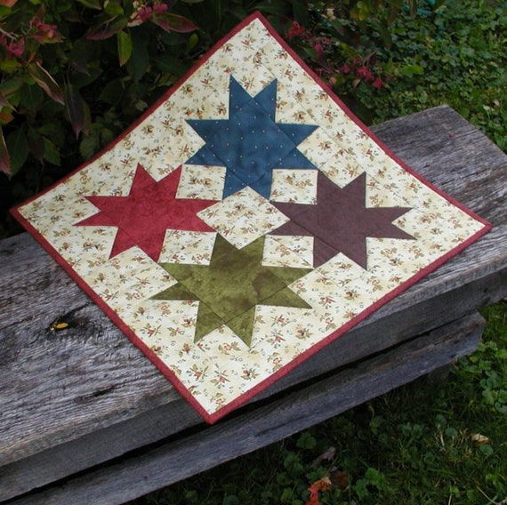 Country Barn Stars Quilted table Runner